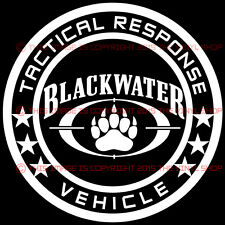 5.5 inch BLACKWATER Tactical Response Vehicle shadow army decal sticker BADASS