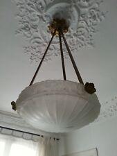 Grand Lustre Art Nouveau en Verre Pressé Moulé et Monture Bronze