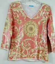 J. McLaughlin Sz M SEQUIN Knit Top Shirt Sweater Blouse Coral Yellow Sheen Shiny