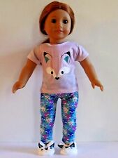 """Little Fox Pajama Pant Set and Slippers Fits 18"""" American Girl Doll Clothes"""