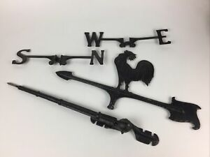 Vintage Barn House Weather Vane Rooster Cockerill Black Painted Aluminum