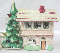 Vintage Christmas Ceramic Tree and House Light Made in Taiwan 1970s