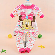 NEW 2PC Toddle Baby Kid Girl Fall Winter Outfit Set Dot Pants Hot Pink 18M Z466B