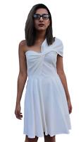New Topshop White Jersey Drape One Shoulder Fit & Flare Skater Dress RRP£55 6-14