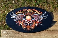 Harley Davidson HD Biker to the Bone Embossed Tin Metal Sign - Bar and Shield
