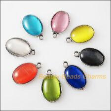 8 New Retro Charms Tibetan Silver Cat Eye Stone Oval Pendants Mixed 11.5x19mm