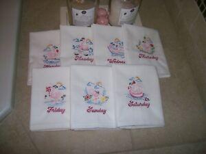 Flamingo Days of the Week , Embroidered Kitchen Towel Set / 7 Flour Sack Dish To
