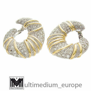 Pierre Lang Creolen Ohrringe rhodiniert vergoldet Strass earrings 🌺🌺🌺🌺🌺