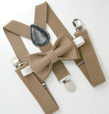 Kids Boys Mens Baby Taupe Brown Suspenders & Taupe Bow tie Infant - ADULT SET