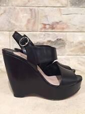 NIB Prada Black Leather Asymmetrical Cut Out Platform Wedge Sandal Shoes 36 $750
