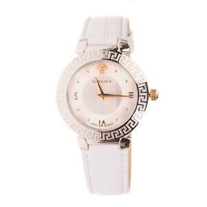 RRP €850 VERSACE DAPHNIS Leather Watch SWISS MADE Greek Key Sapphire Glass