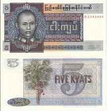 BURMA 5 Kyats Banknote World Paper Money aUNC Currency Pick p57 (MYANMAR) Bill