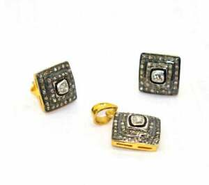Polki and Pave Diamond Jewelry 925 Sterling Silver Earring and Pendant Set T36