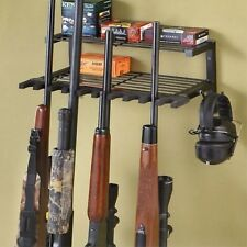 Wall Mounted Rifle Rack 10 Shotgun Organizer Gun Ammo Steel Shelf Hunting Hanger