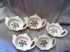 "VTG TEA POT SHAPED TEA BAG HOLDERS & WIRE RACK ""Let Me Hold The Bag""  Hong Kong"