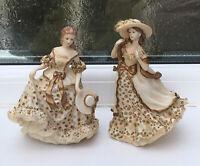 Vintage Pair Leonardo Lady Figurines Allison & Emma Cream & Gold 16 Cm