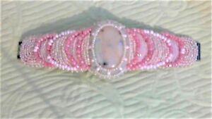 Pink Opal Peruvian 48 Cts Rose Quartz Glass Beads Silver Clasp Handmade Signed