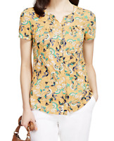 NEW M&S Per Una Yellow Floral Button Blouse Short Sleeve RRP £25 Now £7.50