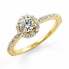 0.77Ct Round Diamond Solitaire VS2 F Wedding Engagement Ring 14k Gold Yellow