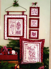 PATTERN - Santa Is Coming Redwork - fun Christmas stitchery PATTERN