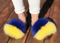 (Yellow+Silver+Blue) Women Large Real Fox Fur Sandal Shoes Flat Slides Slippers