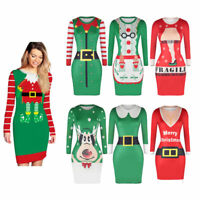 Christmas Sweater UGLY Xmas Santa Elf Women Slim Jumper Pullover Long Tops Dress