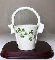 Vintage Shannon Fine Porcelain I. Godinger & Co Shamrock Clover Handled Basket