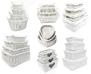 White Shabby Chic Wicker Kitchen Crafts Home Storage Hamper Basket With Handle
