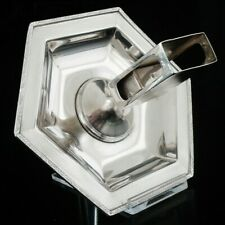 More details for art deco sterling silver combination ashtray & matchbox holder, mappin & webb