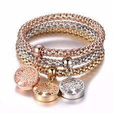 3 Pcs Tree of Life Bracelet Popcorn Heart Owl Charm Bracelets For Women Jewelry