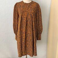 Long Sleeve Cheetah Print Pleated Shift Dress