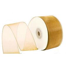 "1.5"" Plain Sheer Organza Nylon Ribbon 25 Yards - Gold"