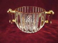 Jeannette National Sugar Bowl Clear Glass Gold Highlights Vintage (O) - AS IS