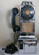 Vintage CHROME Automatic Electric Payphone LPB-82-55 (3) Slot Payphone w/ Jack
