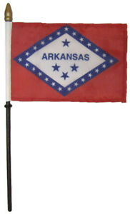 "Arkansas 4""x6"" Flag Desk Table Set Wooden Stick Staff"