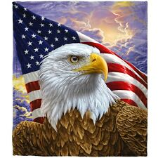 Dawhud Direct Independence Eagle Super Soft Plush Fleece Throw Blanket