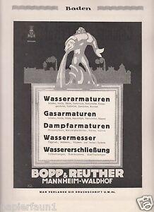 Armaturen Bopp & Reuther Mannheim XL Reklame 1921 Waldhof Werbung ad