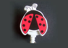 LADYBUG Retractable Reel ID Card Badge Holder/Key chain/Security Ring White