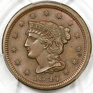 1847 N-27 PCGS MS 63 BN CC#5 Braided Hair Large Cent Coin 1c