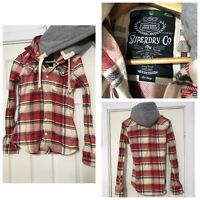 Superdry Thick Shirt Hooded Jacket Women Size Large L Red Checked (C195)