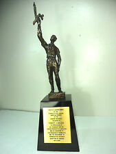 Bronze. Trophy. Chaim Gross   Torch of Learning Award Trophy Sculpture Signed