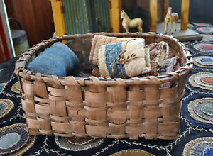 Vintage Primitive Sewing Basket with sewn in pin keep and vintage Quilt scraps