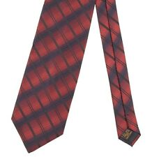 Lanvin Made in PARIS Blue Red Black Gradient Check Stripe Woven Silk Tie