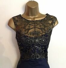 LIPSY Size 16 Lace Top Bodycon Navy Dress Wiggle Cruise Wedding Mother Of Bride