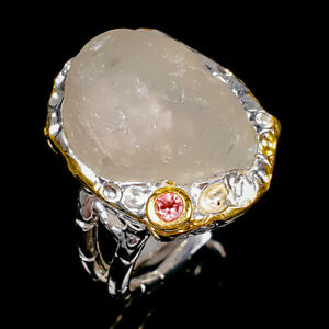Rough Design Unique Blue Topaz Ring Silver 925 Sterling  Size 8.25 /R175132