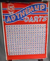 Vintage Frank Stein Novelty AD THEM UP DARTS Poster CLOWN MOTIF Printed in USA