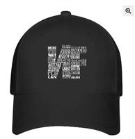 NF Word Collaboration Design Hat Flexfit Black Baseball Cap Printed Logo L/XL