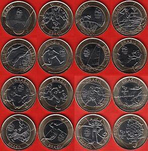 "Brazil set of 16 coins (full set): 1 real 2014-2016 ""Rio Olympics"" BiM. UNC"
