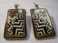 """Laurel Burch Black And White Gold Plated Cat """"Gregorio"""" Pierced Dangle Earrings"""