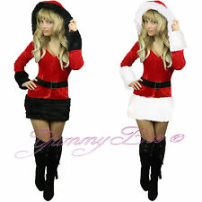 Mrs Santa Claus Fancy Dress Costume Women Ladies Christmas Outfit Plus Size 6-22 Aus 5xl 18-20 White